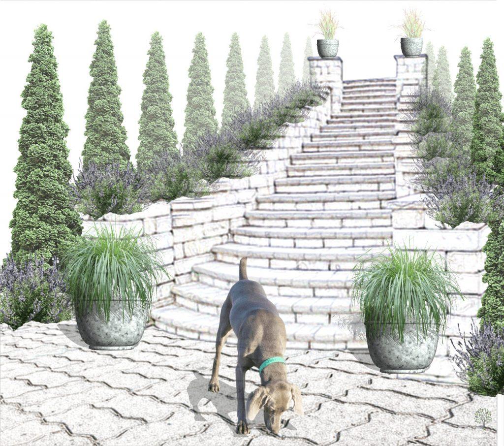 styl ogrodu przy schodach