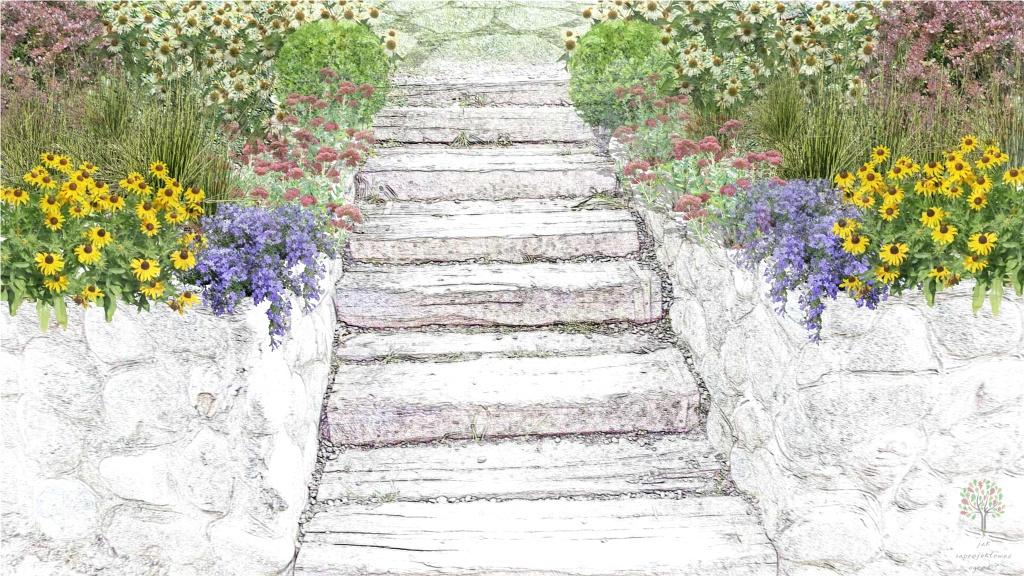 ogród przy kamiennych schodach