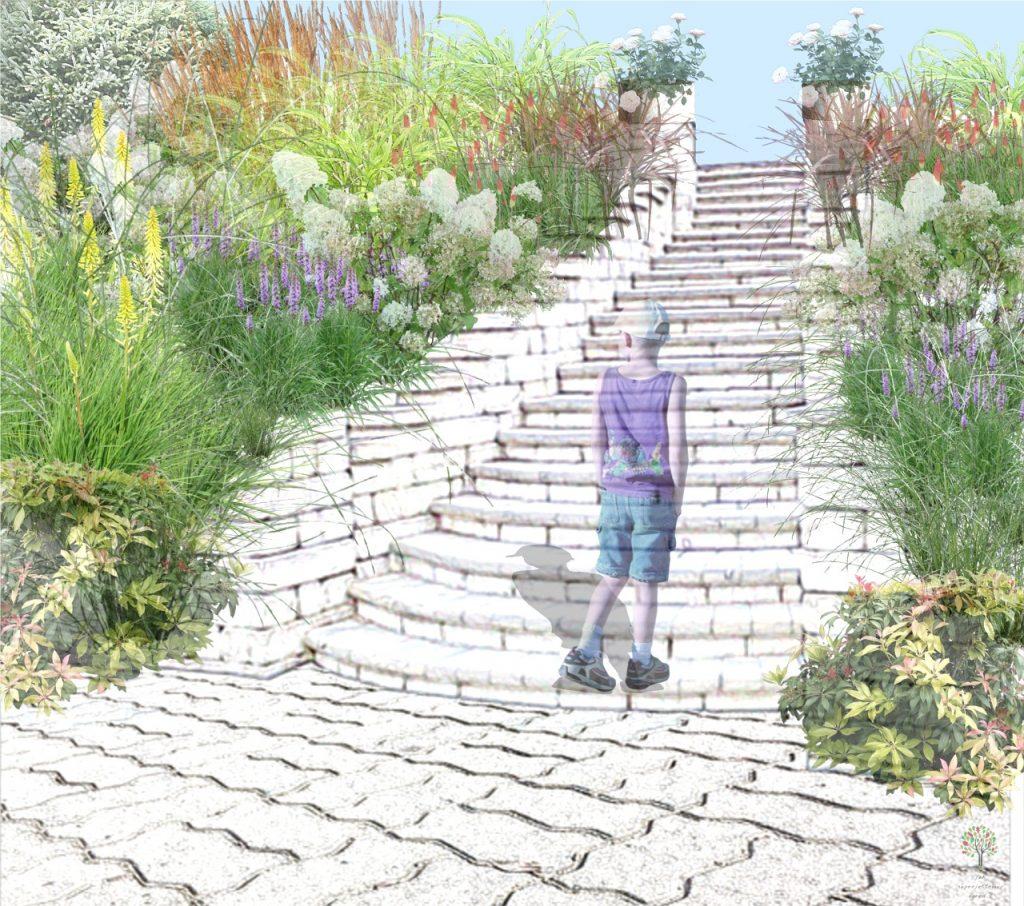 symetryczny ogród przy schodach